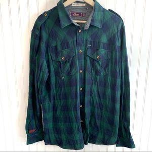 AKOO Shirt 2XL Plaid Button Down Green Embroidered